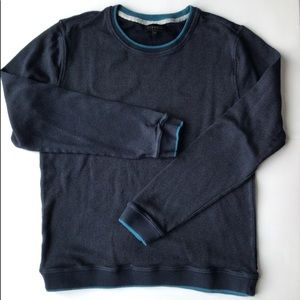 Blue Sweater with Teal Trim
